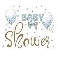 Servietten 33x33 cm - Baby Shower Blue