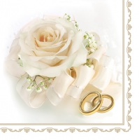 Servietten 33x33 cm - Wedding Rings & White Rose