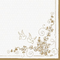 Servietten 33x33 cm - White Doves