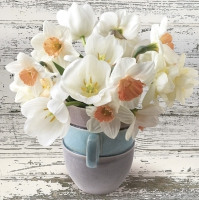 Servietten 33x33 cm - Cup Full of White Daffodils