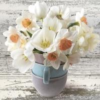 Servietten 33x33 cm - Tasse voll mit weißen Narzissen