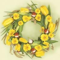 Servietten 33x33 cm - Primeln und Tulpen im gelben Kranz