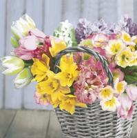 Servietten 33x33 cm - Spring Mix Flowers in Basket
