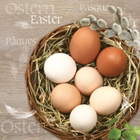 Servietten 33x33 cm - Eco Eggs in a Wicker Basket