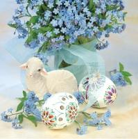 Servietten 33x33 cm - Lamb & Forget-me-nots