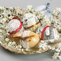 Servietten 33x33 cm - Decorated Eggs on Blossom