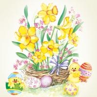 Servietten 33x33 cm - Daffodil Bunch with Happy Chicks