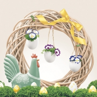 Servietten 33x33 cm - Easter Wreath with Ceramic Cock