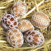 Servietten 33x33 cm - Easter Eggs in Lace