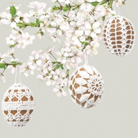 Servietten 33x33 cm - Embroidered Eggs on a Cherry Twig