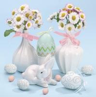 Servietten 33x33 cm - Daisies in White Flowerpots on Blue Background
