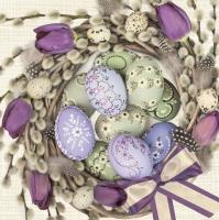 Servietten 33x33 cm - Violet Tulips Wreath with Eggs