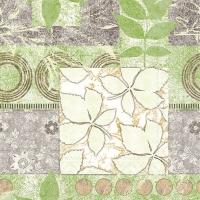 100 Tissue Dinner Servietten - HENDRIK grün-braun
