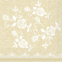100 Tissue Lunch Servietten - SPITZE beige