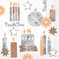 Tissue Servietten 33x33 cm - Candle Time  (grau)