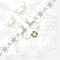 100 Tissue Lunch Servietten LEONARD grau-grün