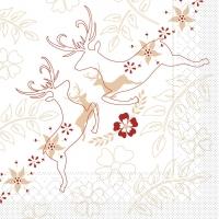 Tissue Servietten 33x33 cm - LEONARD beige-bordeauxfarben