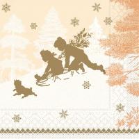 Tissue Servietten 40x40 cm - SCHLITTENFAHRT terrakotta