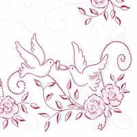 Linclass Servietten 40x40 cm - Hochzeit (rosa/bordeaux)
