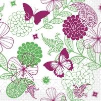 Tissue Servietten 33x33 cm - Natalie (rosa/grün)