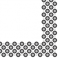 Linclass Servietten 40x40 cm - Art-Deco-Kreise (silber/schwarz)