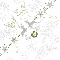 Linclass Servietten 40x40 cm - Leonard  (grau/grün)