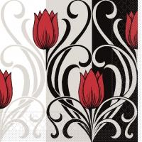 Tissue Servietten 33x33 cm - Annika (rot/schwarz)