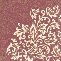 Tissue Servietten 33x33 cm - Delia  (bordeaux/creme)