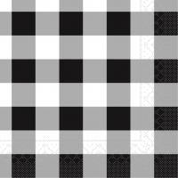 Tissue Servietten 33x33 cm - Karo  (schwarz)