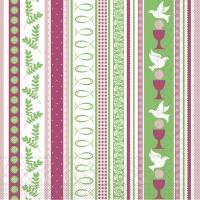 Tissue Servietten 33x33 cm - Kommunion/Bestätigung (rosa/grün)