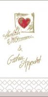 Tissue Servietten 40x40 cm - Herzl. Willkommen & Guten Appetit