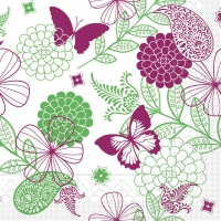 Tissue Servietten 40x40 cm - Natalie (rosa/grün)