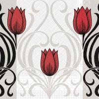 Tissue DeLuxe Servietten - Annika (rot/schwarz)