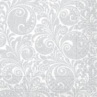 Tissue Servietten 33x33 cm - Jordan  (weiss/silber)