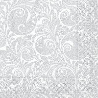Tissue Servietten 33x33 cm - Jordanien (weiss/silber)