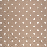 Lunch Servietten Hearts&Dots taupe
