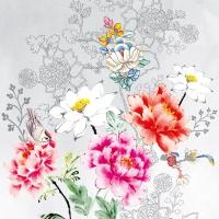 Servietten 33x33 cm - Blumensilhouette