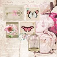 Servietten 33x33 cm - Butterfly Stamp