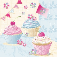 Servietten 33x33 cm - Birthday Cup Cakes