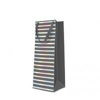 10 Geschenktaschen - Reflex Stripes  grey bottle