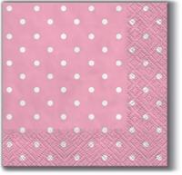 Servietten 25x25 cm - Dots rosa