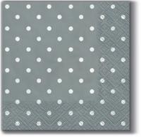 Servietten 25x25 cm - Punkte Silber