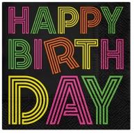 Servietten 25x25 cm - Birthday Neons (colorful)