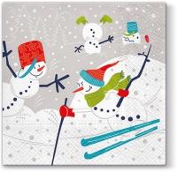 Servietten 33x33 cm - Skifahrende Schneemänner