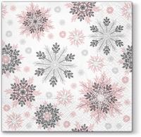 Servietten 33x33 cm - Snowflakes  pink