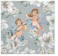 Servietten 33x33 cm - Angels in Flowers silver