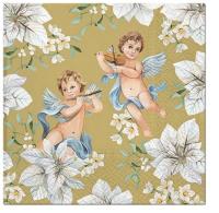 Servietten 33x33 cm - Angels in Flowers gold