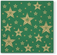 Servietten 33x33 cm - Beatiful Stars green