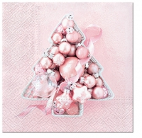 Servietten 33x33 cm - Pink Baubles Tree