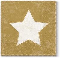 Servietten 33x33 cm - X-mas Star (gold)